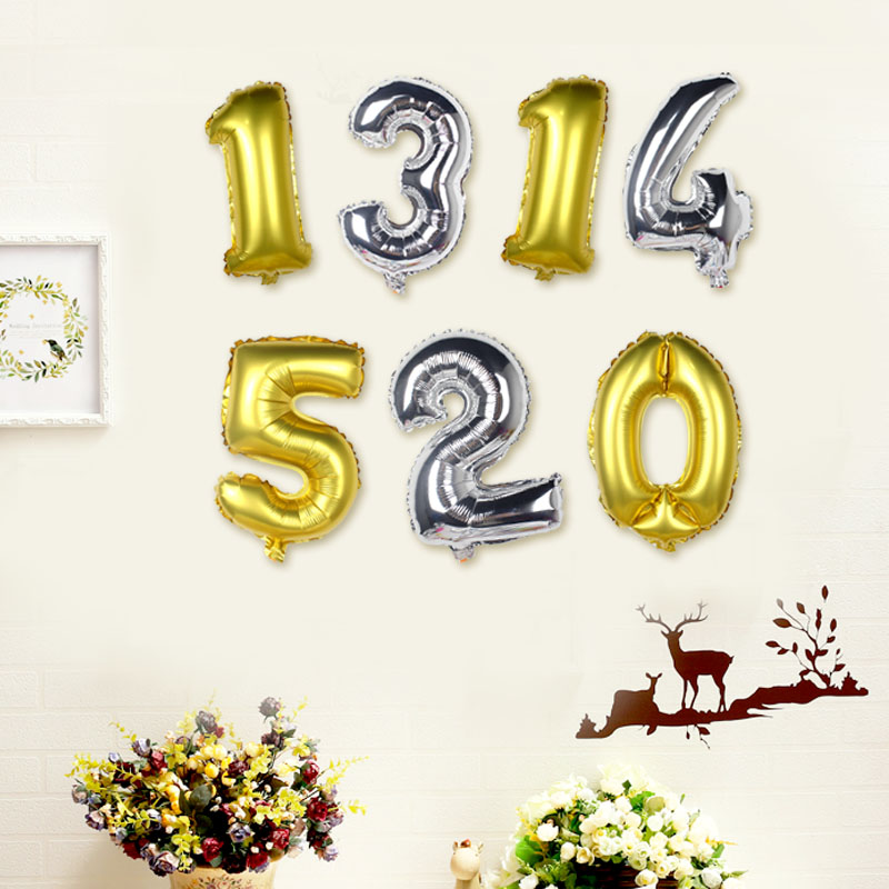 Digital Foil Gas Golden Aluminum Balloons Birthday Number 18 Inch Balloon Figures 0 9 Send Holiday Supplies