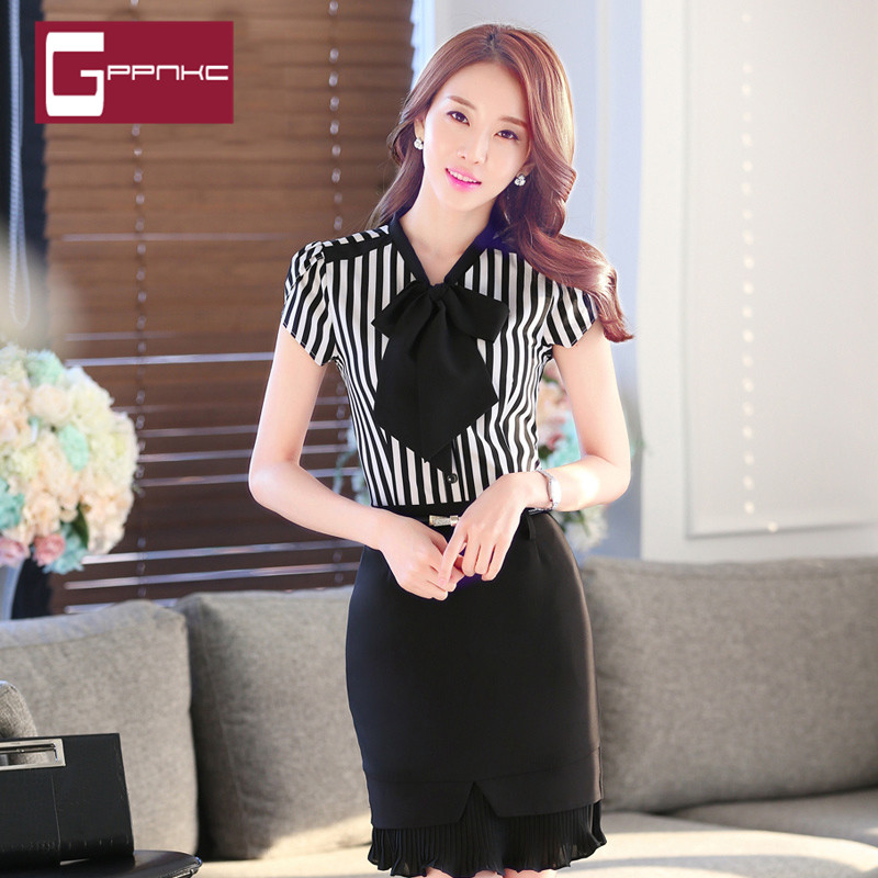 9a1b2d1f67b End custom brand gppnkc summer fashion striped shirt blouse career slim  skirt overalls. CN 4121.0 Yuan. Summer female striped career interview suits  ...