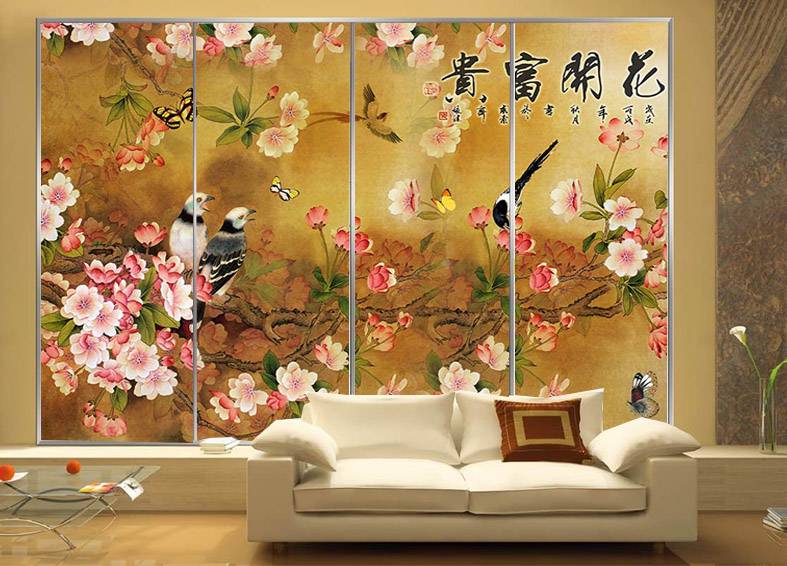 European Custom Painting Waterproof Bathroom Window Stickers Glass Affixed Wardrobe Sliding Door Blossoming In On