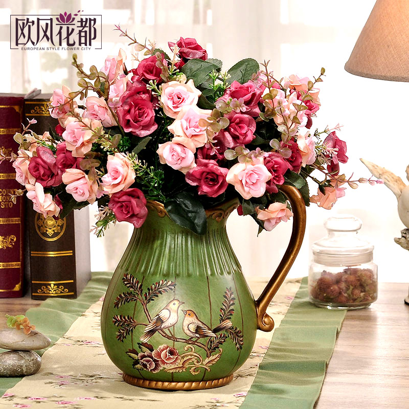 Buy European Pastoral Ceramic Flower Pot Milk Pot Vase Living Room