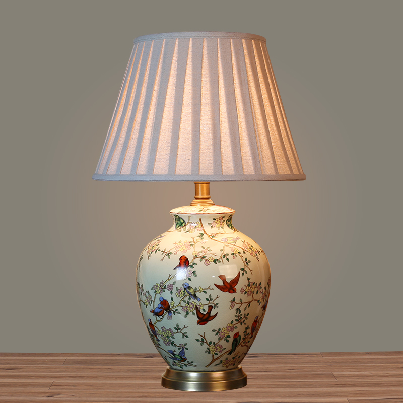 Buy European pastoral ceramic table lamp bedroom bedside ...