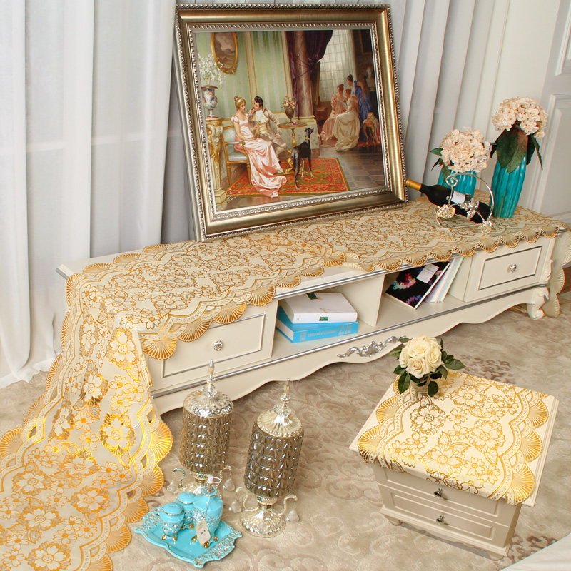 European Pvc Gilt Tablecloth Tv Cabinet Dresser Nightstand Cover Coffee Table Mat Runner Fabric Cloth Custom