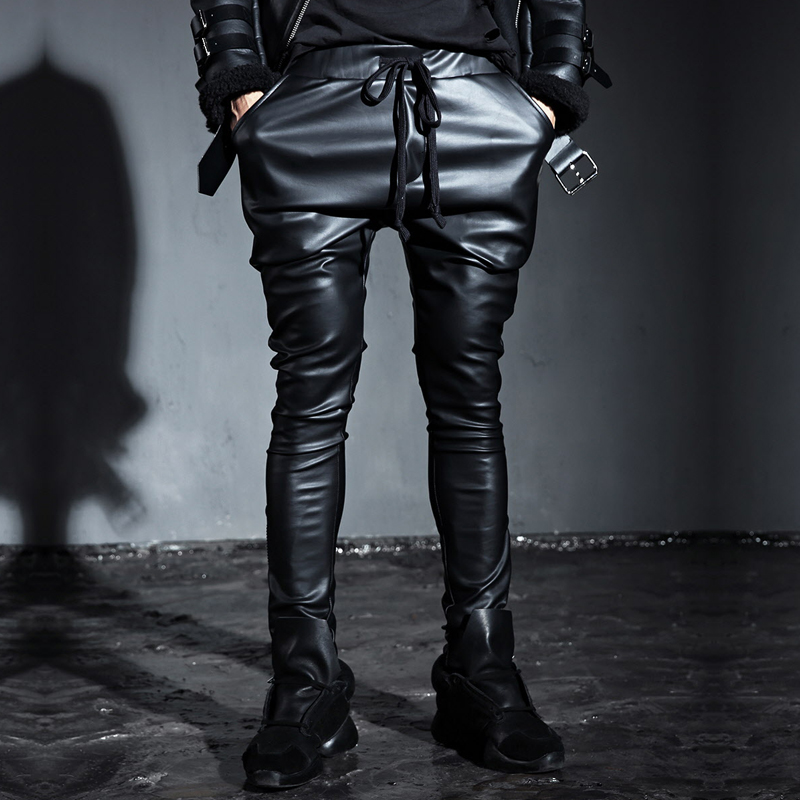 f2dc4bca4b89 Buy Fall men's slim leather pants tapered pants fashion trend of  british punk black jane about carnitas leather pants tapered pants in Cheap  Price on ...