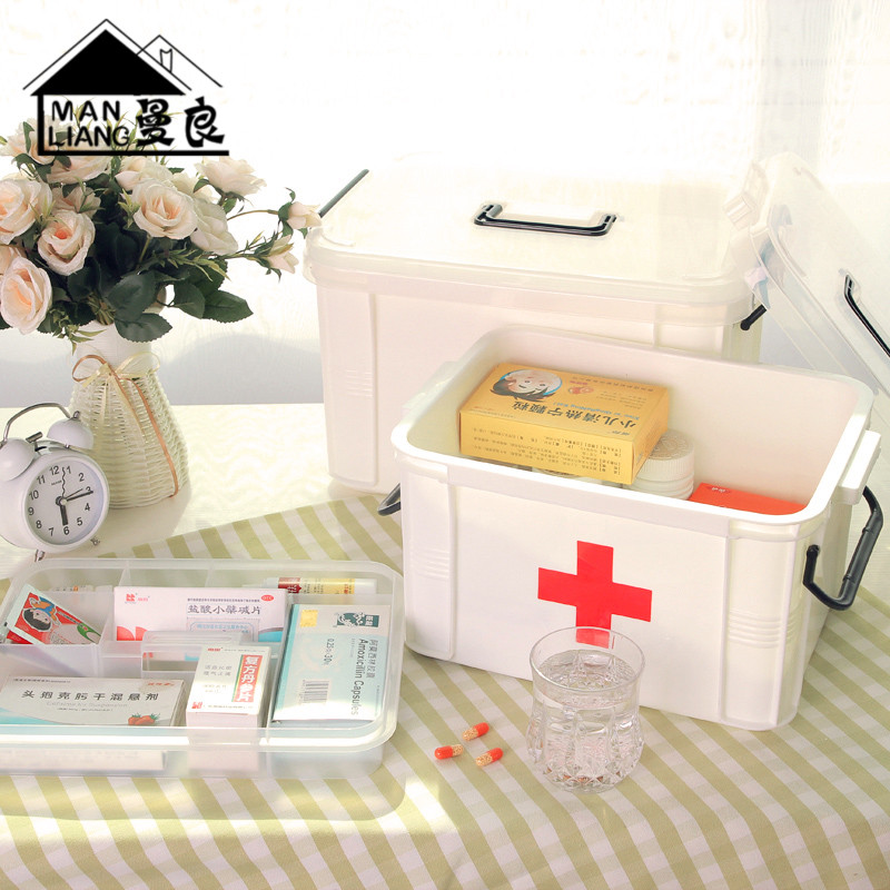 Buy Family Medicine Chest With A King Medicine Cabinet Multilayer Storage  Of Medical Medicine Box First Aid Kit Storage Box Household Plastic Trumpet  In ...