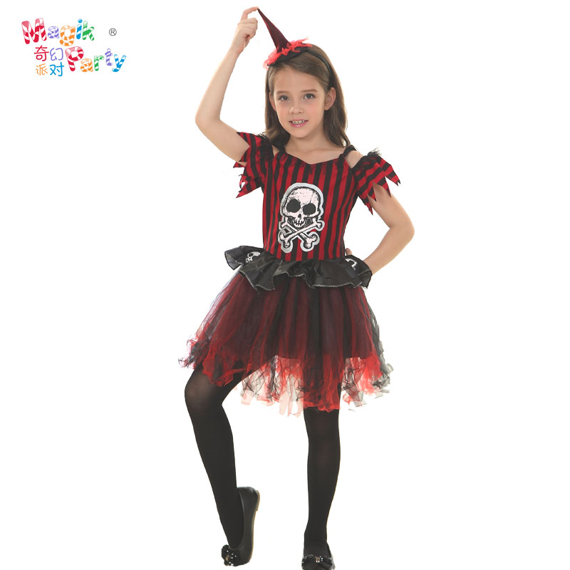bfb3dd25cb652 Fantasy party horror skull girls princess dress costume halloween costumes  for children dance performance apparel clothing