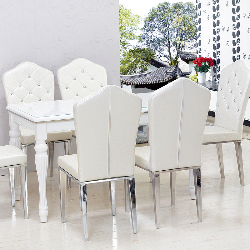 Fei Rui Ice Tempered Gl Dining Table White Paint Wood Tables And Chairs Set In Modern Minimalist New Price On M Alibaba