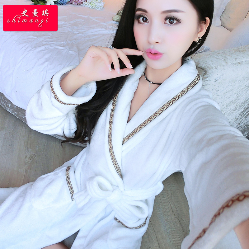 b85f30c397 Buy Flannel nightgown female winter cute couple coral velvet robe bathrobe  longer pajamas tracksuit female autumn plus thick in Cheap Price on  m.alibaba.com