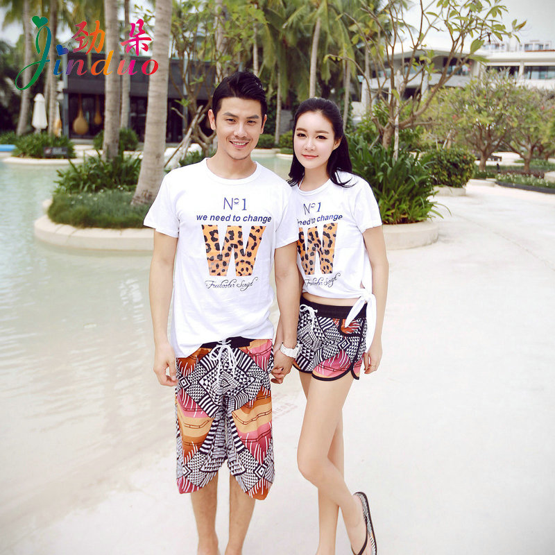 e3f26a051c Fresh flowers letters couple honeymoon couples suite korean summer round  neck t-shirt loose big yards short padded
