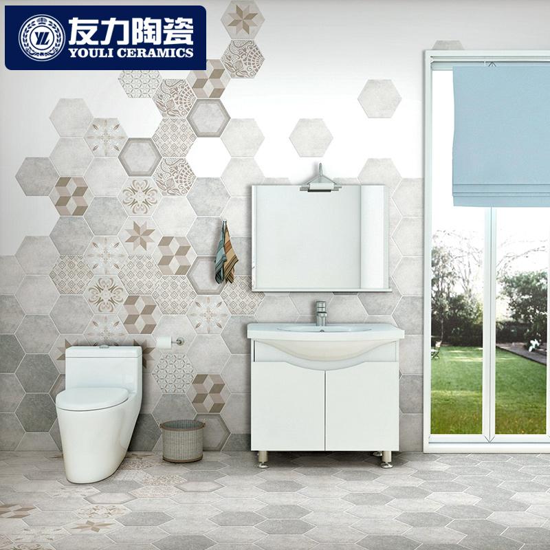 Hexagonal Tiles Bathroom Wall