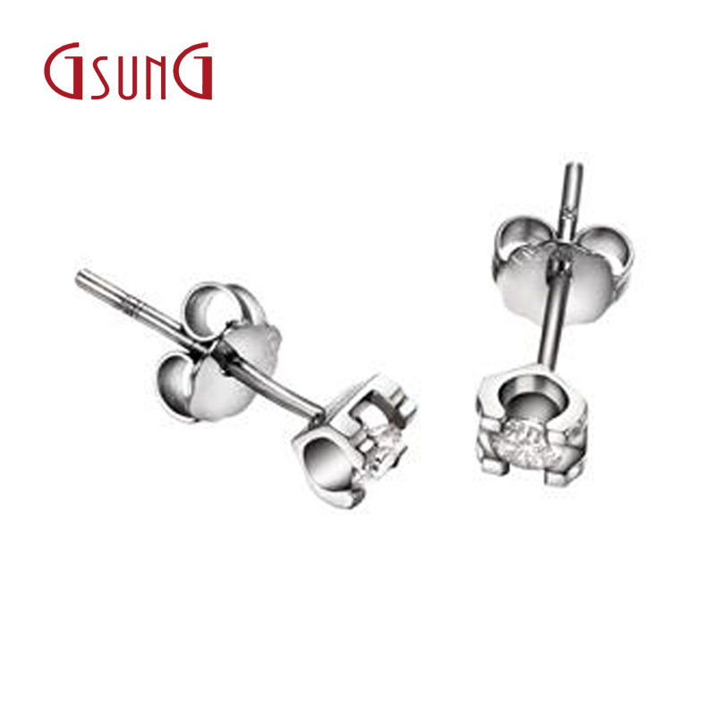 Gsung Platinum K Ms Diamond Stud Earrings Pt950 Pearl Ear Hook Package In Price On M Alibaba