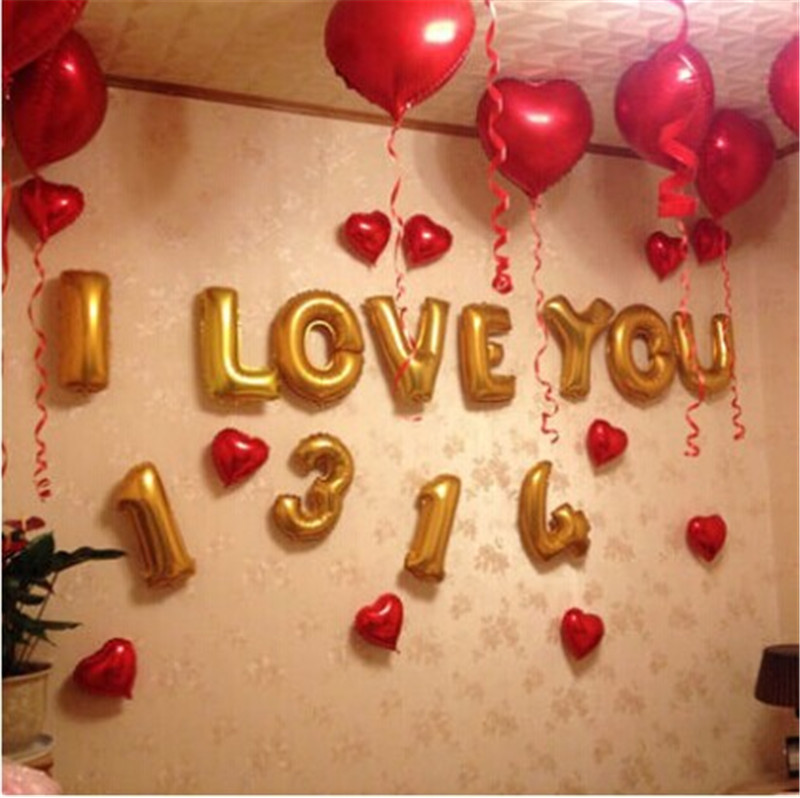 Buy I Love You Letter Creative Wedding Party Marriage Room Decoration  Supplies Jewelry 1314 Red Balloons Birthday Package B In Cheap Price On  M.alibaba.com