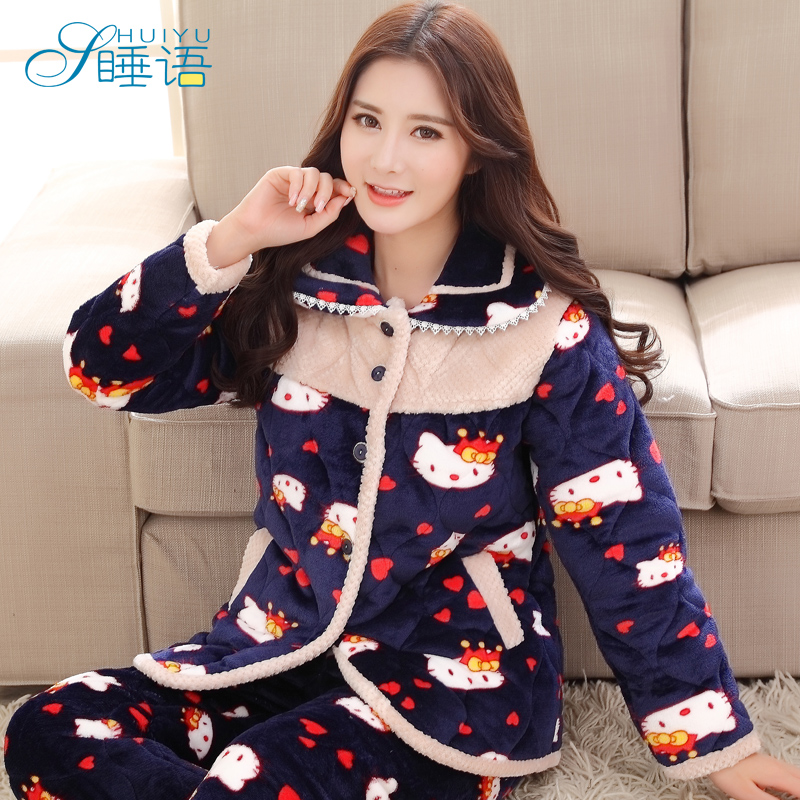 Buy In sleep pajamas female winter thick cotton quilted pajamas female  autumn long sleeve pajamas women tracksuit suit in Cheap Price on  Alibaba.com 8b2f1c719