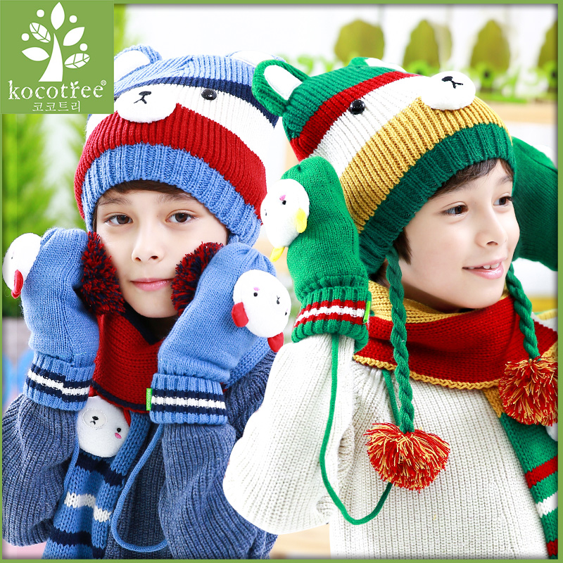 Korea kk tree baby hats scarves gloves three sets of hand sets of children  fall and winter hat scarf suit fashion tide c66ee2eb923d