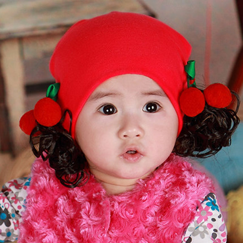 3d2d9db0340 Buy Korean female treasure cotton baby hedging wig cap wig cap 0-1-2-year-old  girls spring and autumn paragraph newborn baby hat in Cheap Price on ...