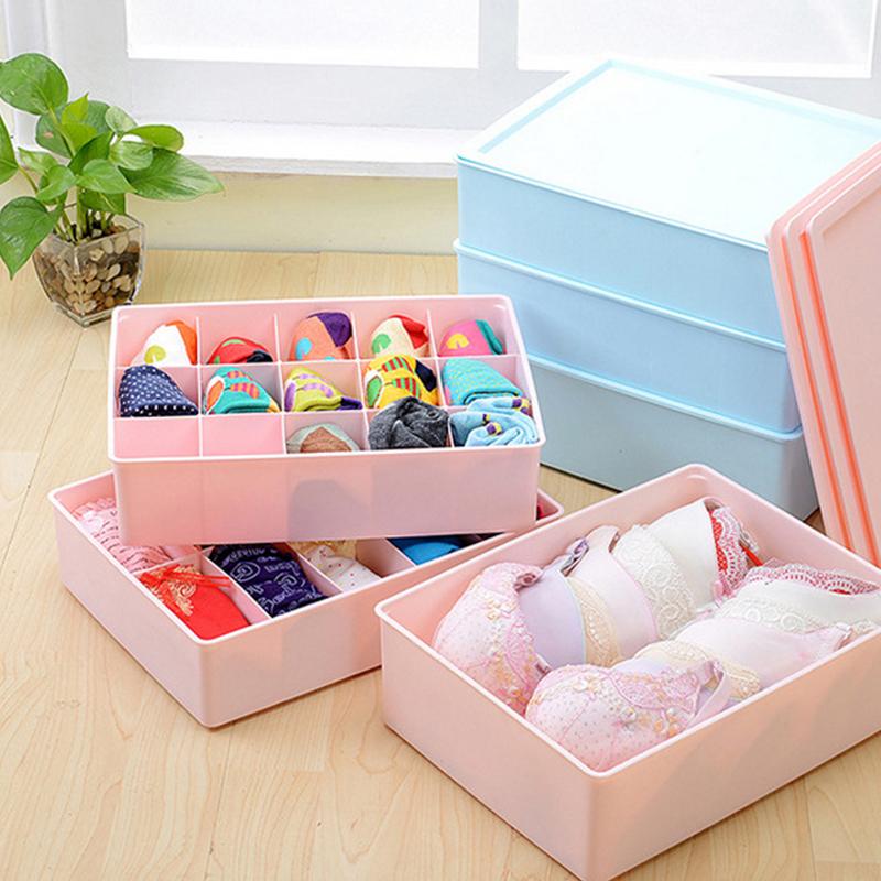 Large Covered Underwear Storage Box Three Sets Of Thick Plastic Bra  Underwear Socks Underwear Storage Box Finishing Bags Post