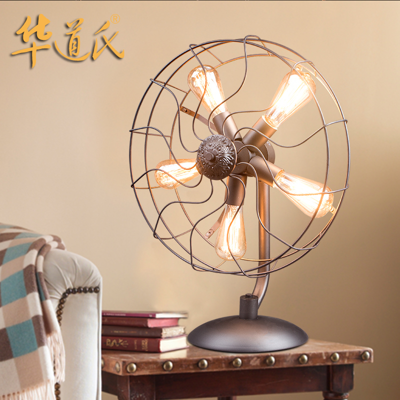 Loft Industrial Style Living Room Bedroom Lamp American Country Creative  Personality Retro Lamp Fanner Iczg5JFD