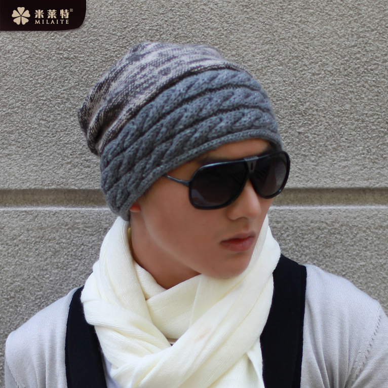 Men s winter hat korean tidal thick wool hat knitted hat autumn and winter  days hedging hat cap baotou korean male hat 173a14ef49fa