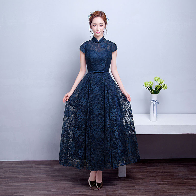 Buy Middle Aged Women Dress Evening Dress Long Section Of Dark Blue