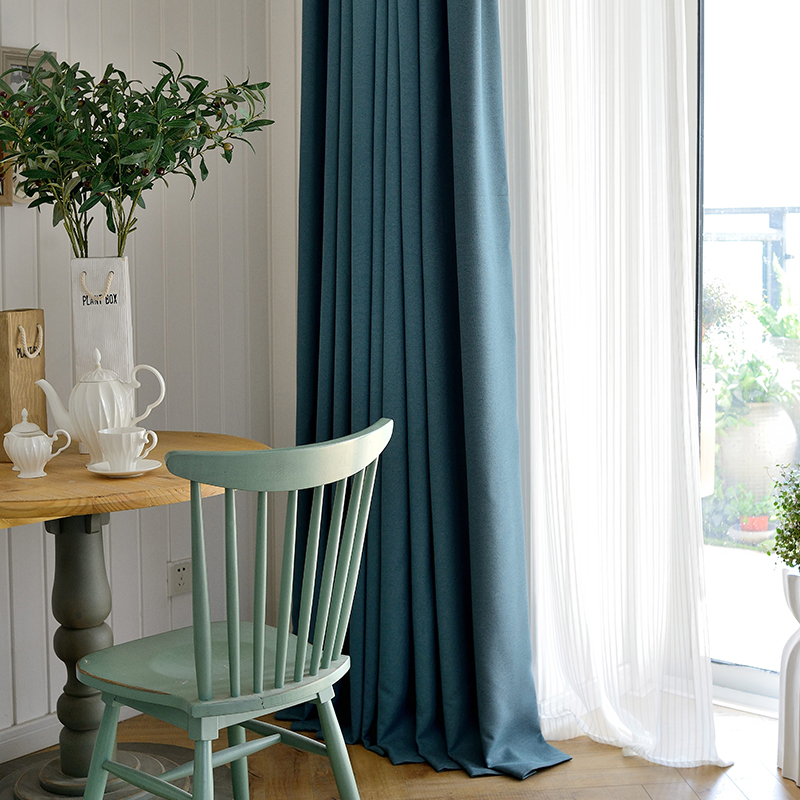 Buy Modern and simple solid color thin cotton linen curtains custom ...