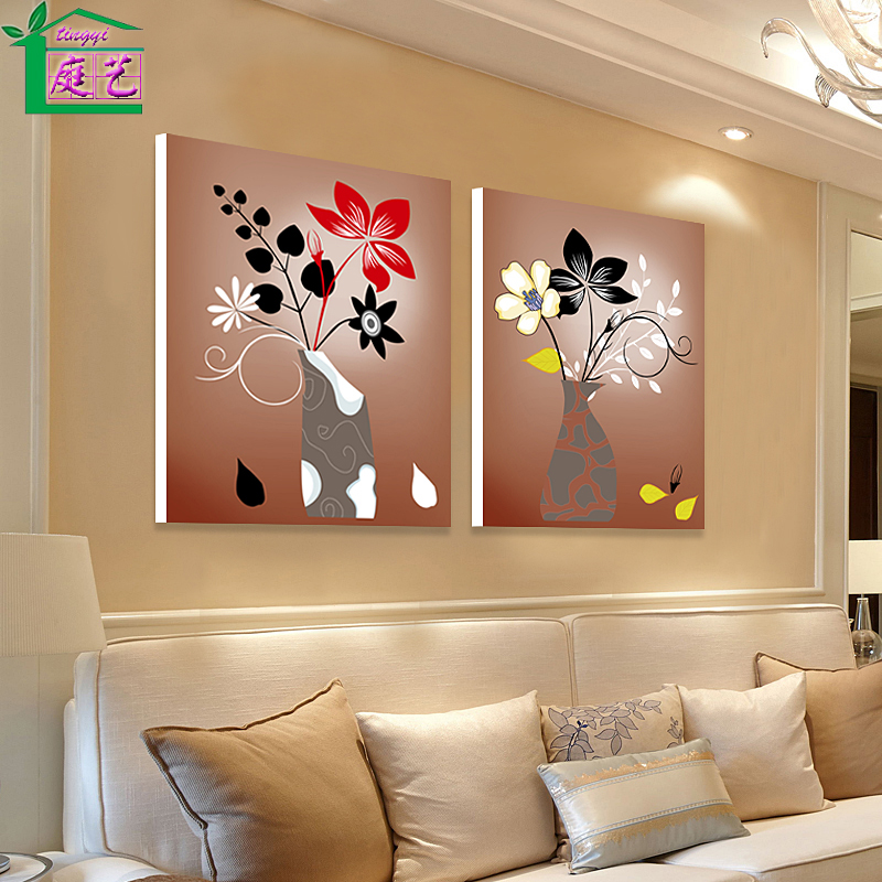 Modern Living Room Decorative Painting Two Linked Frameless Bedroom Sofa Backdrop Mural Arts Vase Paintings Abstract In Price
