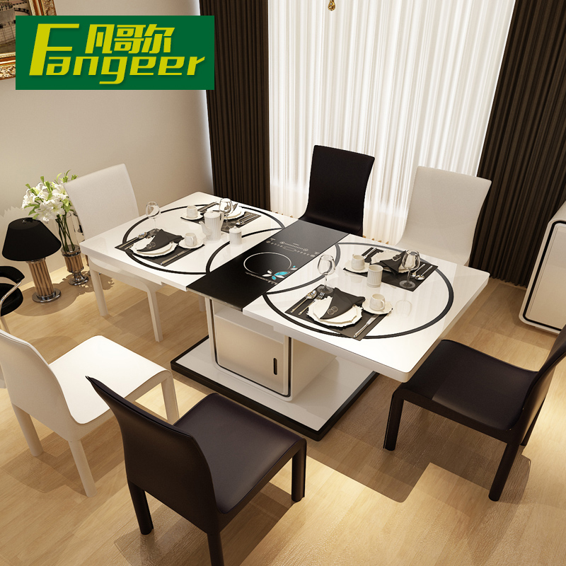 Modern Minimalist Retractable Gl Dining Table Dinette