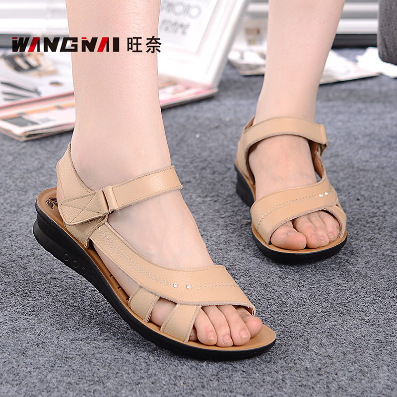 2862c57fc3e9c9 Mong nai summer mom leather sandals leather sandals slip shoes in the  elderly soft bottom flat sandals lady sandals women