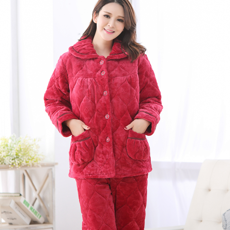 d03970f983 Buy Ms. autumn and winter triple thick quilted flannel pajamas winter coral  quilted velvet tracksuit jacket suit in Cheap Price on m.alibaba.com