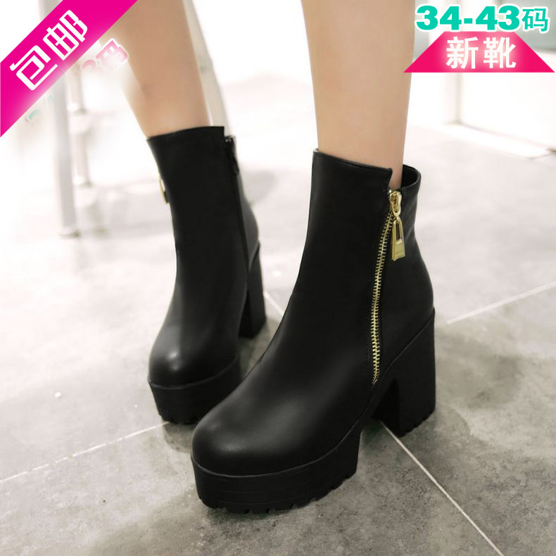 4a3e50133751 Ms. spring and autumn single shoes free shipping rome handsome woman with short  boots side zipper martin boots thick with soft leather boots large size ...