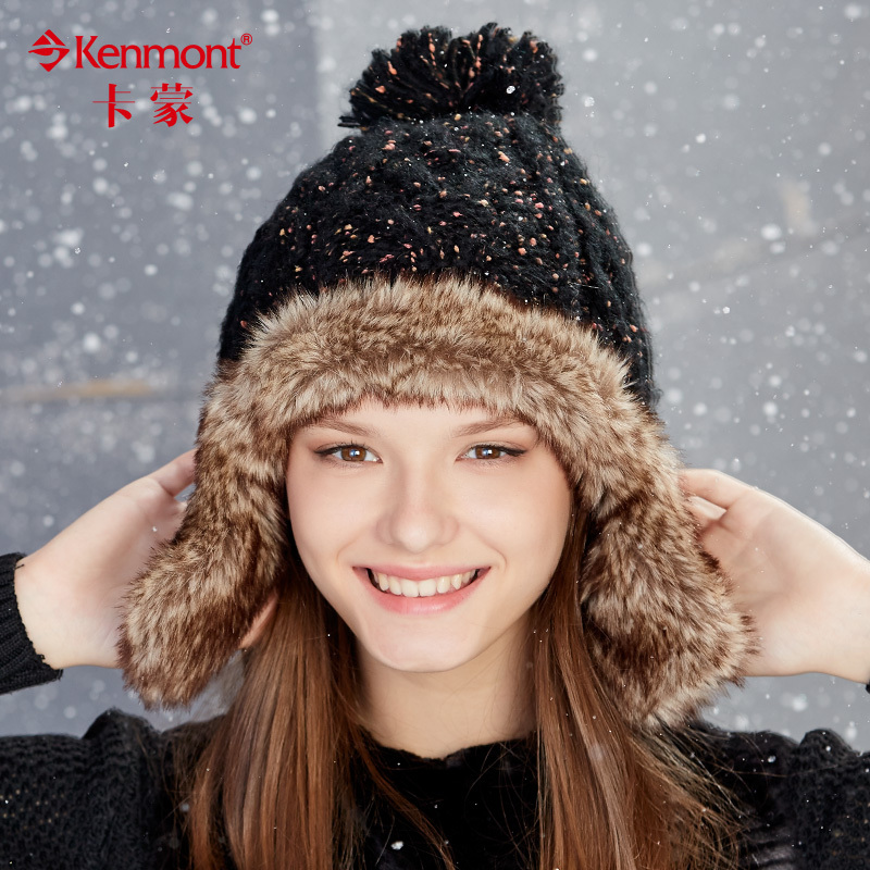 Buy Ms. warm winter hat knitted hat winter fashion leather grass thick wool  hat ski cap hat ear cap autumn and winter days in Cheap Price on  m.alibaba.com 542722c66ff