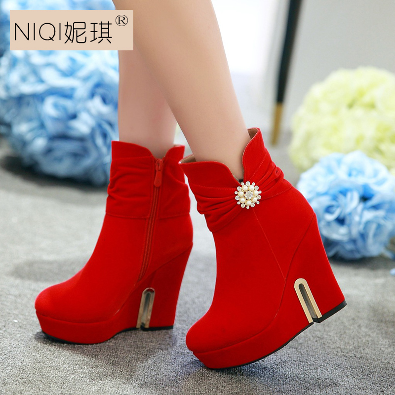 New Winter Wedding Red Boots Slope With High Heels Shoes Bridal In Price On M Alibaba