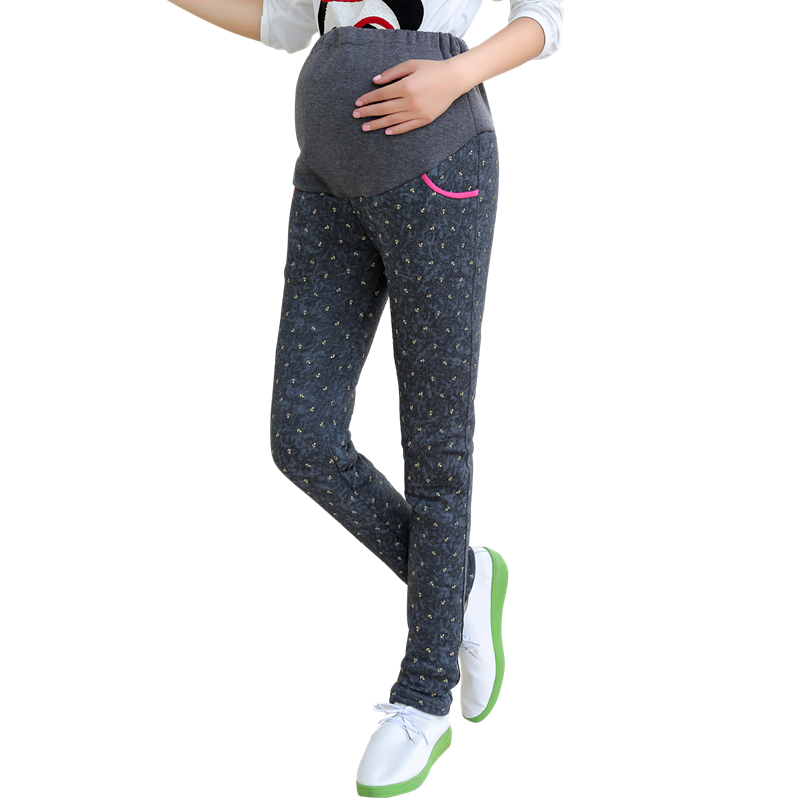 d3a37b2132265 Pregnant women leggings fall and winter care of pregnant women belly slim  hip plus thick velvet warm outer wear black trousers care of pregnant women  pants ...