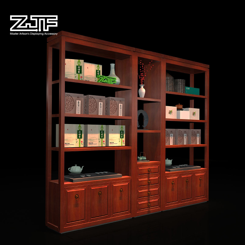 Public Carpenter Square Zjf Store Display Cabinet Shelves Of Ceramic Tea  Sets Tea Container Wall Modern Chinese Wood Chen Column Cabinet D4