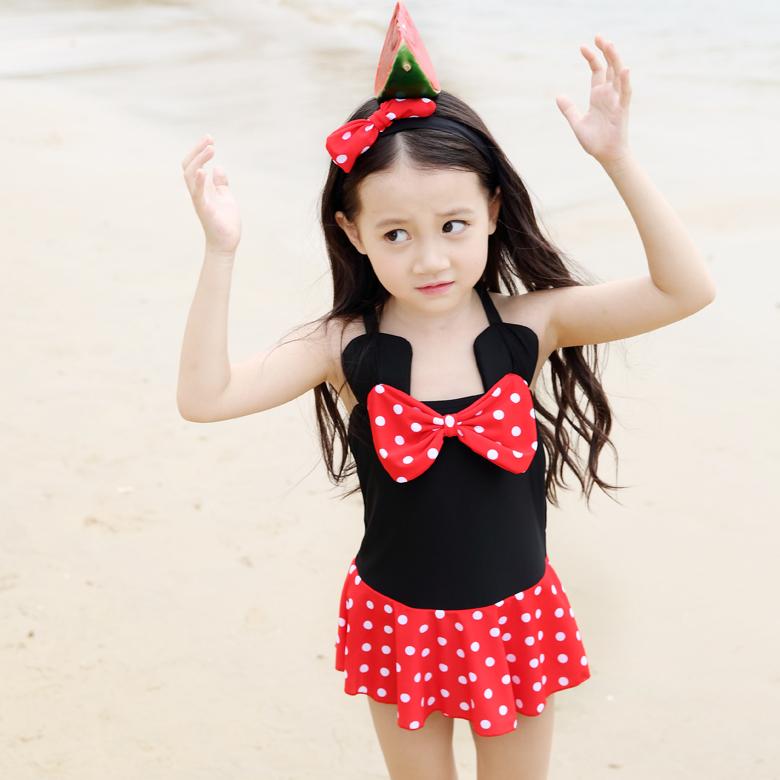 2b7bd8e0d4e91 Qi xi 2016 new children dress children in child swimsuit cute polka dot swimsuit  swimsuit minnie