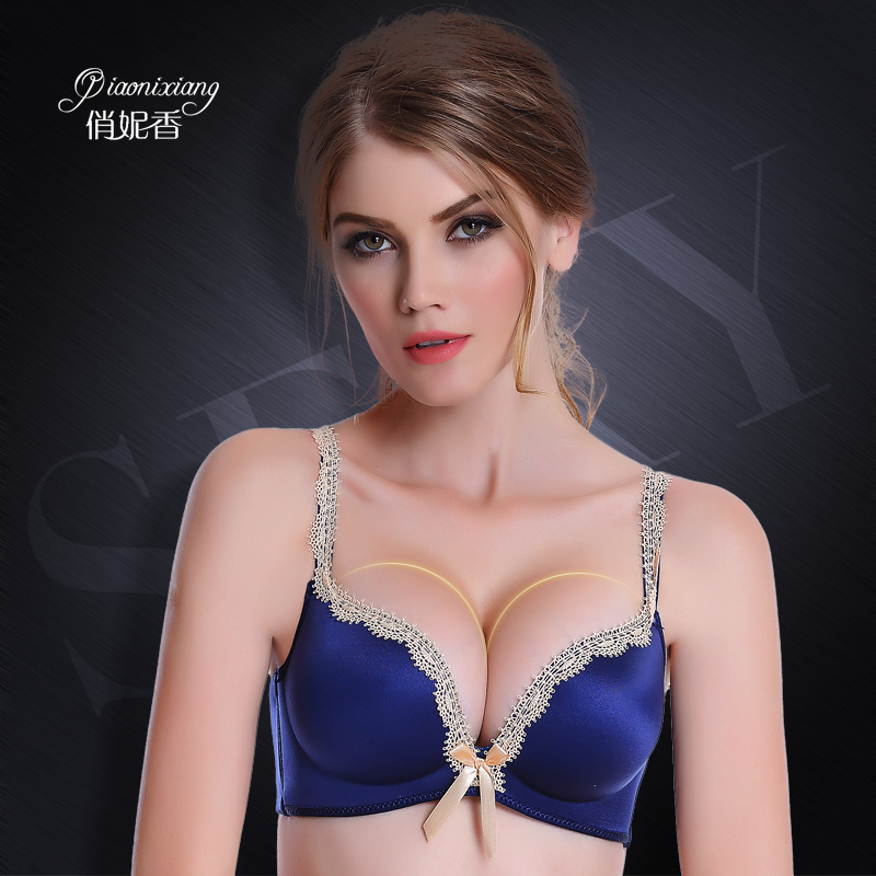fa2249f20 Qiao borderies sweet deep v sexy lace lingerie bra adjustable bra gather  small chest thin section no rims bra girl bra