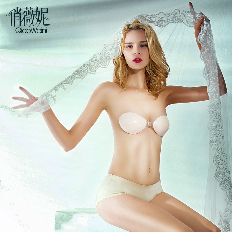 c0aba64fd5739 Qiao wei ni bride milk paste thickening gather silicone invisible bra  wedding lingerie chest paste nubra swimming waterproof
