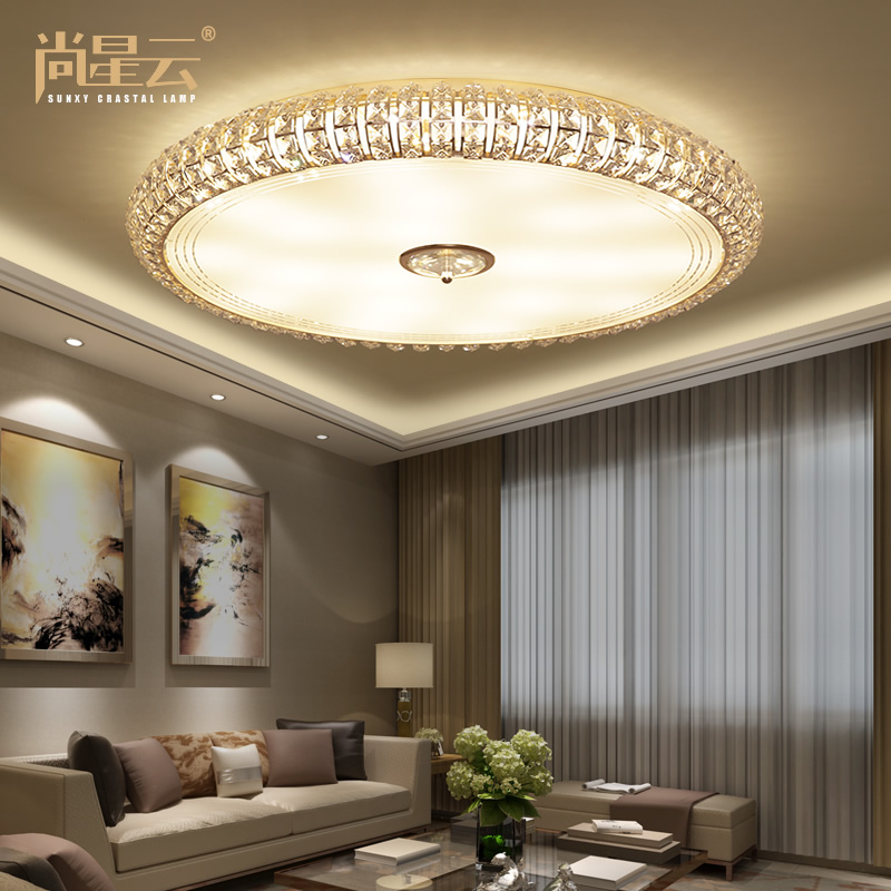 Buy Remote control color led ceiling lights round crystal ...