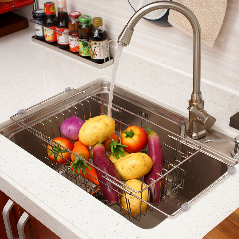 Buy Retractable Stainless Steel Sink Rack Creative Kitchen Shelving Rack Drain Fruit Cleaning Kitchen Washing Dishes Rack In Cheap Price On Alibaba Com