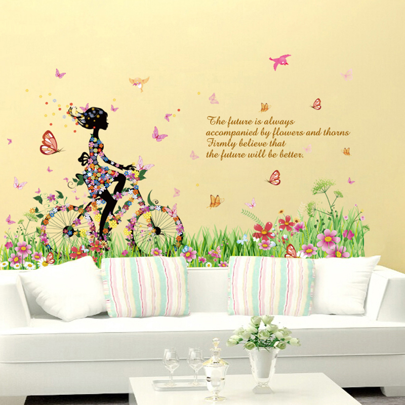 Buy Riding a bicycle girl wardrobe stickers flower wall stickers ...