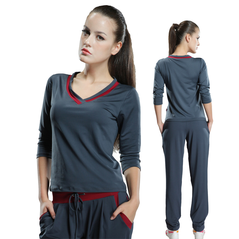 b092d2836fea Road iraqi vatican workout clothes yoga fitness yoga clothes suit autumn  and winter large size women sleeve body suit aerobics workout clothes  female ...