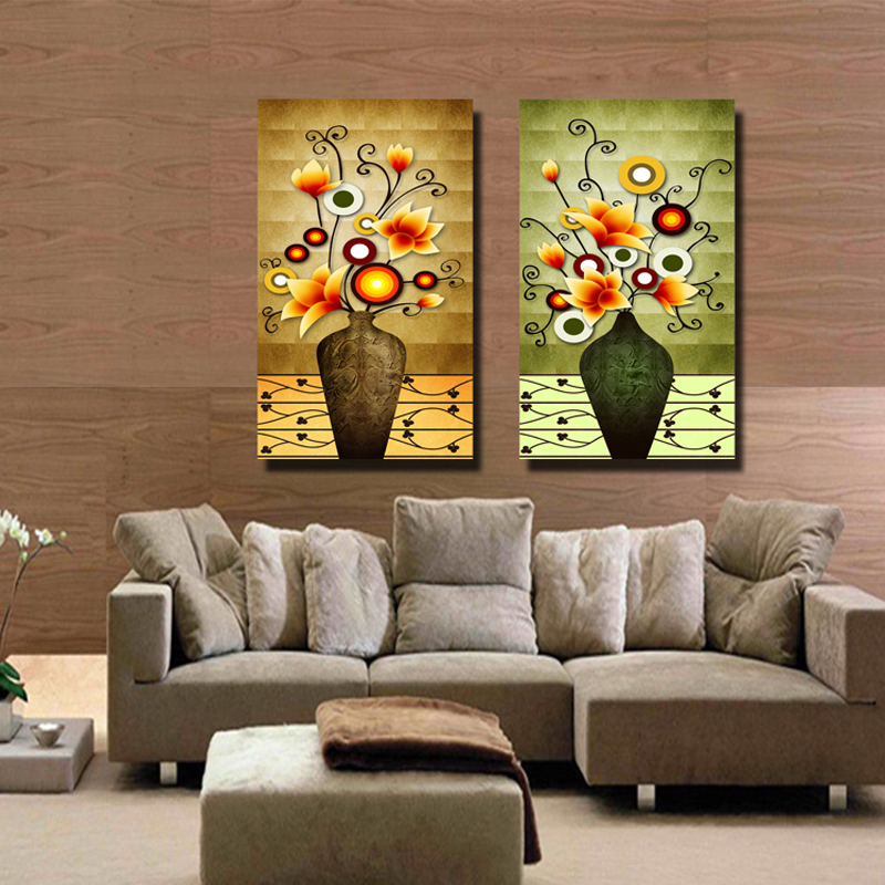 Send Engraved Crystal Gl Ice Painting Decorative Modern Restaurant Mural The Living Room Vase Paintings Frameless Two Linked