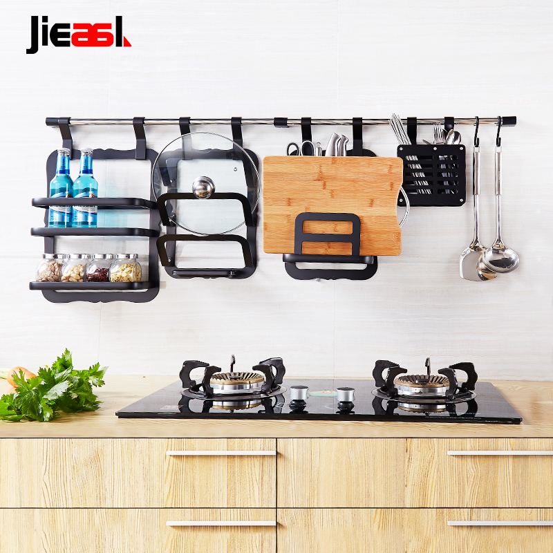 Space aluminum kitchen racks kitchen rack turret wall kitchen pendant  hanging rod black free combination