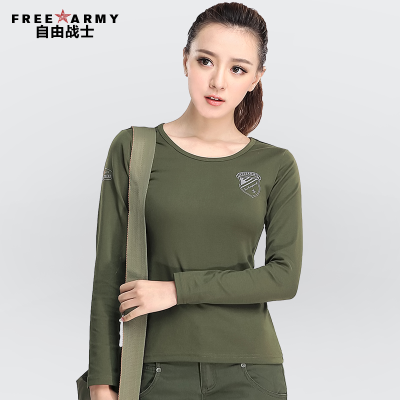 Buy Spring and summer women free army slim round neck t-shirt printing  large size women bottoming shirt long sleeve solid color army green in  Cheap Price on ... 8c1d2b1dcd