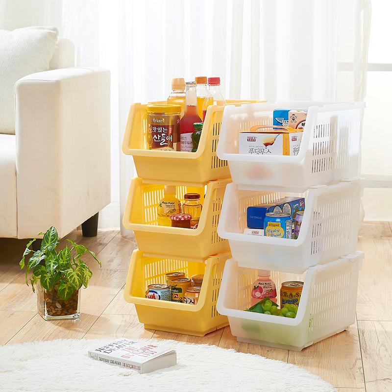 Stackable Storage Racks Kitchen Basket Plastic Fruit And Vegetable Shelf Of