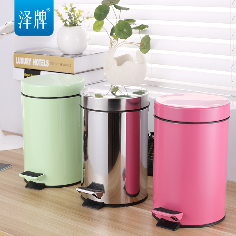 Stainless Steel Trash Creative Fashion Foot Home Kitchen Bathroom Trash  Barrels A Variety Of Colors