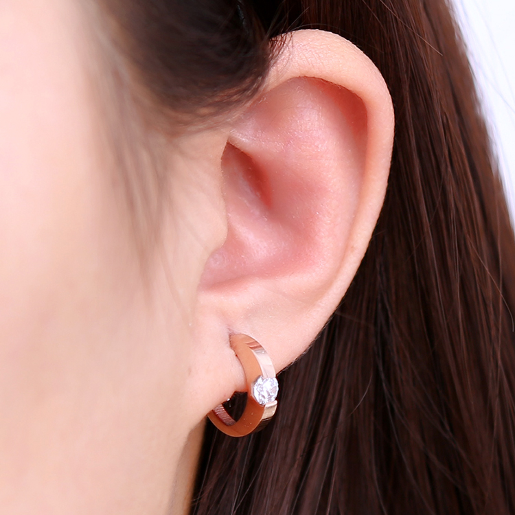 Stereo Half Carat Diamond Ring Rose Gold Plated Crystal Earrings Female Korean Fashion Anium Steel Jewelry In Price On