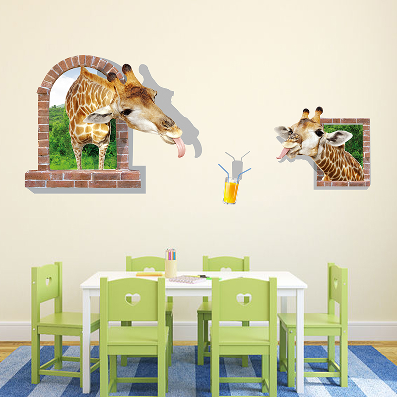 Buy Stereoscopic 3d Wallpaper Wall Stickers Decoration Ideas Bedroom Living Room Tv Sofa Background Painting Klimts Paper Giraffe In Cheap Price