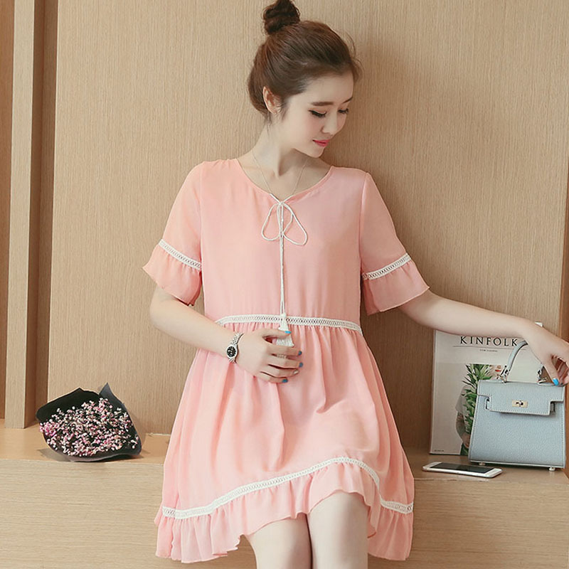 0542f79f255 Korean summer maternity dress shirt summer short sleeve loose casual t-shirt  and long sections of pregnant women bottoming shirt new female
