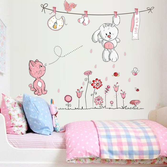 Super meng cute animal cartoon children\'s room decor sticker green sticker  baby bedroom background wall stickers free shipping
