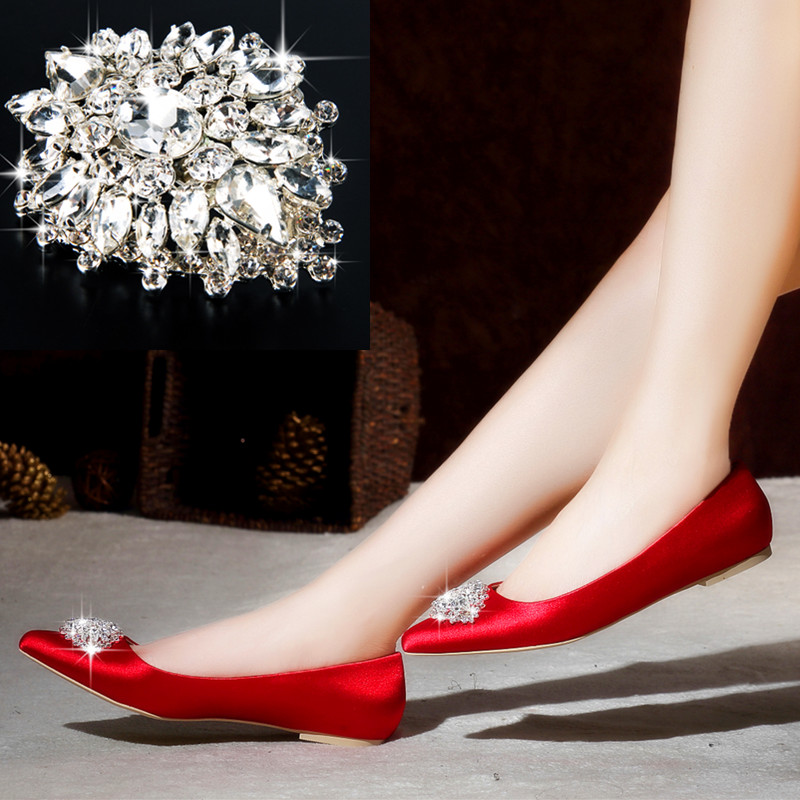 063fd77a0fab The new silk satin rhinestone square buckle flat shoes red shoes bridal  shoes red wedding shoes women shoes flat with big yards pregnant women
