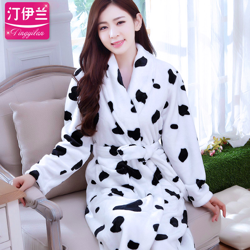 f761adcea6 Ting yilan ms. autumn and winter thick flannel long sleeve pajamas  nightgown lovely bath robe female coral velvet cows
